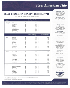 2012 - 2013 Property Tax Rate Sheet for Hawaii